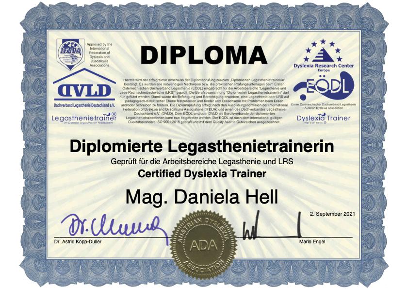 Legasthenie Diploma diplomierte Legasthenietrainerin Daniela Hell